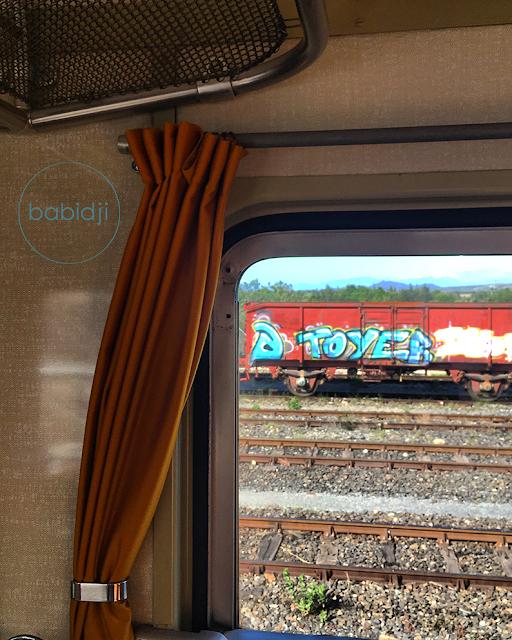 vue sur les rails et un wagon tagué depuis l'intérieur du train rouge