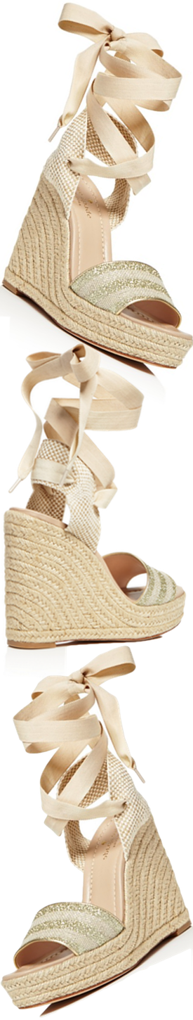 kate spade new york Delano Glitter Stripe Lace Up Espadrille Platform Sandals