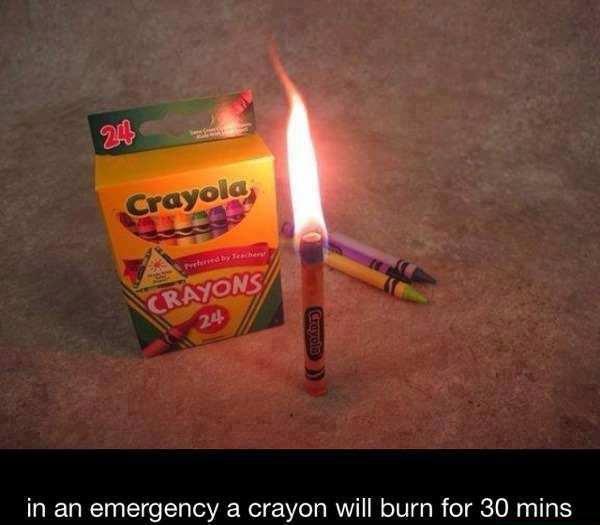 Juggaar - Hack your life: Burn crayons as emergency candles