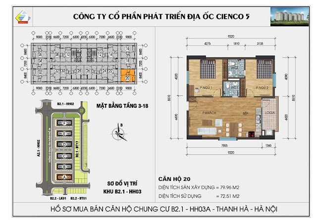 Sơ đồ thiết kế chi tiết căn hộ 20 chung cư B2.1 HH03 Thanh Hà