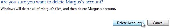 Windows Vista, Supprimer le compte, Êtes-vous sûr de vouloir supprimer le compte. Cliquez sur le bouton 'Supprimer le compte' pour supprimer le compte de l'utilisateur.