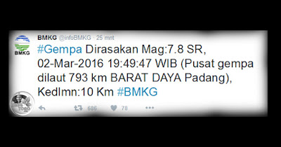 Cuitan ralat BMKG Gempa dengan 7.8 SR terjadi sekitar pukul 19.49.47 WIB, Rabu (2/3/2016).