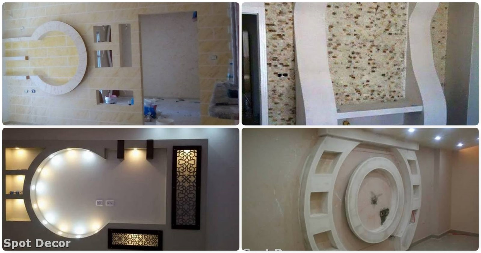 TV Wall Unit With Gypsum Board Decor