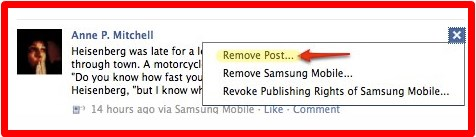how to remove post from facebook wall