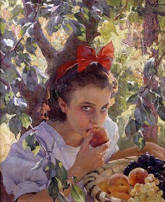 Comiendo fruta, Francisco Pons Arnau, Pintor español, Pintor Valenciano, Pintura Valenciana, Impresionismo Valenciano, Pintor Pons Arnau, Retratos de Pons Arnau