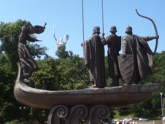 Monument dedicated to the founders of Kiev, with Mother,Motherland