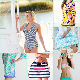 monogram bandeau swim top, bikini top, bottoms and cover-ups