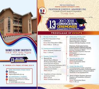 UNIZIK 13th Convocation Ceremonies Programme of Events 2018
