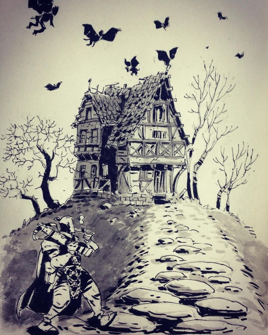 06-House-of-the-Damned-Ullikummi-Fantasy-Lands-in-Ink-Drawings-www-designstack-co