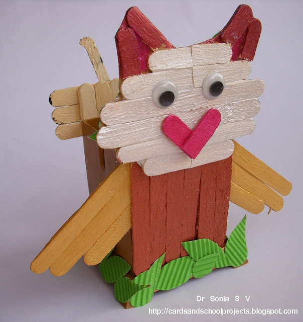 Recycling Ideas Popsicle Stick Craft Tutorial Ladybird And Owl
