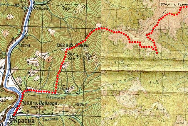 Карта маршрута Гора Темпа – гора Конец – река Тересва – село Красна