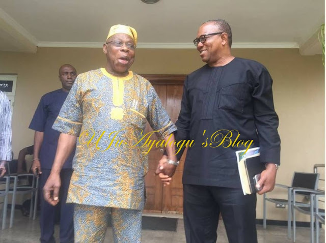 Obasanjo Looking Good & Excited as He Hosts Peter Obi at His Otta Farm Residence (Photos)