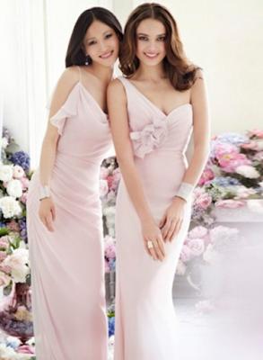 A-Linie aus Chiffon 1-Schulter Perlen Rosa Hübsche Brautjungfernkleider