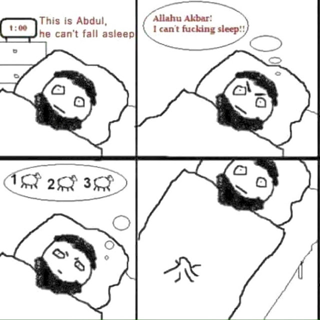 Funny Abdul Counts Sheep Muslim Cartoon Picture