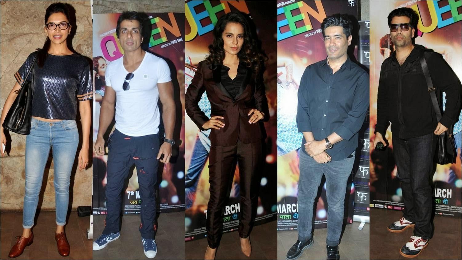Deepika, Sonu, Kangana, Manish Malhotra and Karan Johar on special screening of Queen at Light Box Theatre