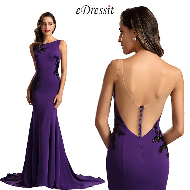 Elegant Sleeveless Lace Purple Formal Dress Evening Dress