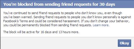 Facebook Account Warning