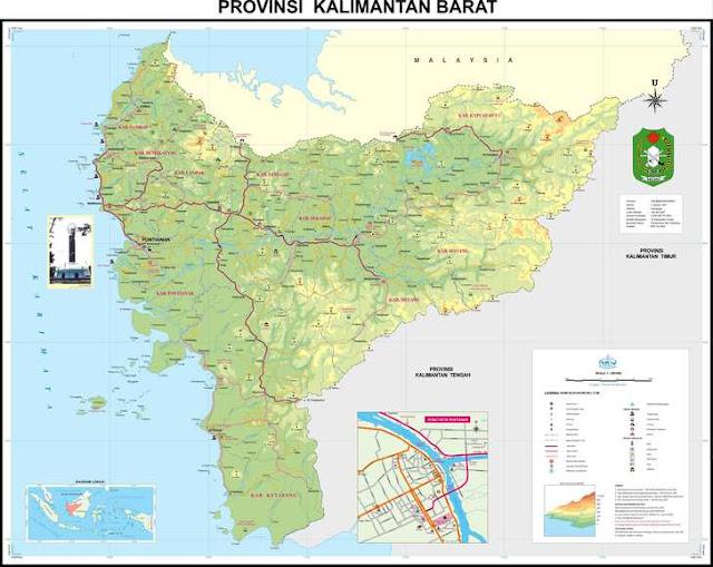 peta kalimantan barat / peta provinsi kalimantan barat / west kalimantan map