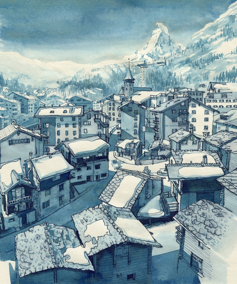07-Zermatt-view-from Hotel-Excelsior-Rupert-Taylor-Blue-Architectural-Urban-Drawings-www-designstack-co