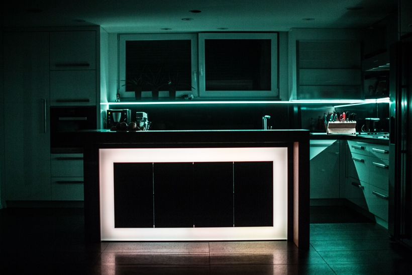 Led light on kitchen island