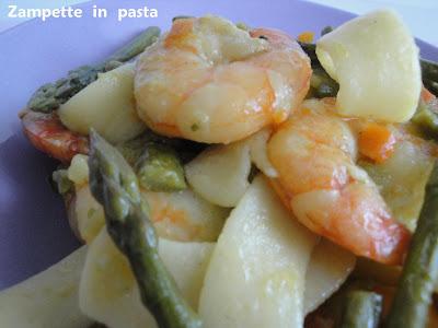 Pappardelle con asparagi e gamberi