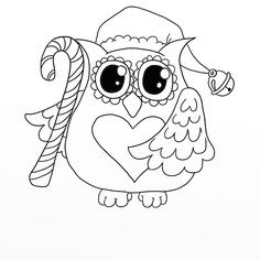 Christmas owl coloring page 4