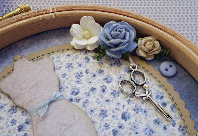 Blue sewing themed vintage style embroidery hoop