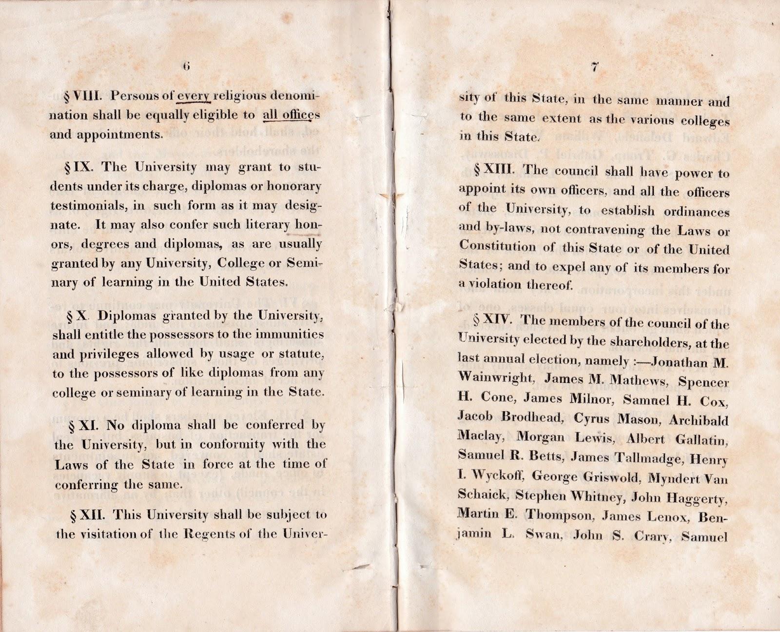 President Andrew Jackson: New York University 1831 Charter