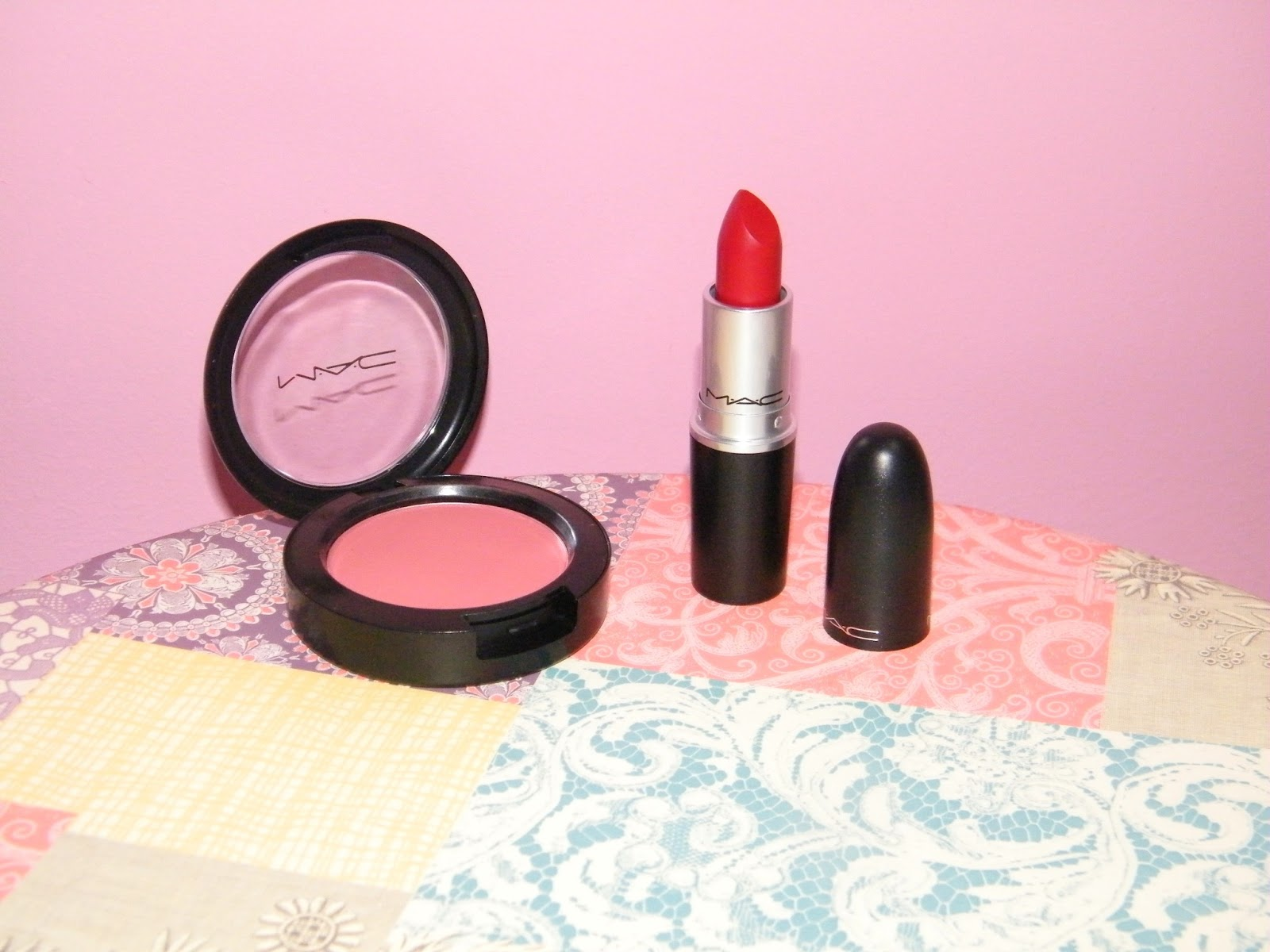 MAC Russian Red Lipstick and Desert Rose Blush