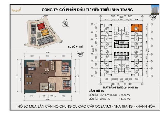 Sơ đồ căn hộ số 02 tòa OC1A Viễn Triều Nha Trang