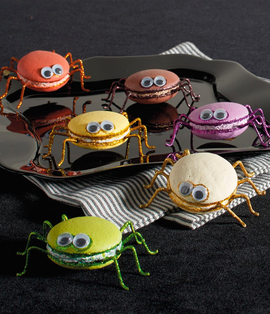 GRANDIN ROAD KATHERINE'S COLLECTION MACARON SPIDERS, SET OF SIX