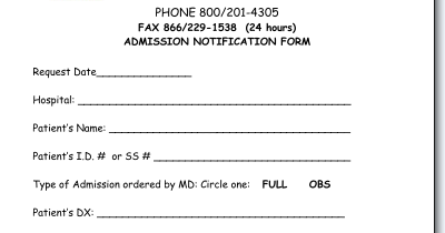Example patient Admission notification form | Medical  of Cpt 99284 modifier 25