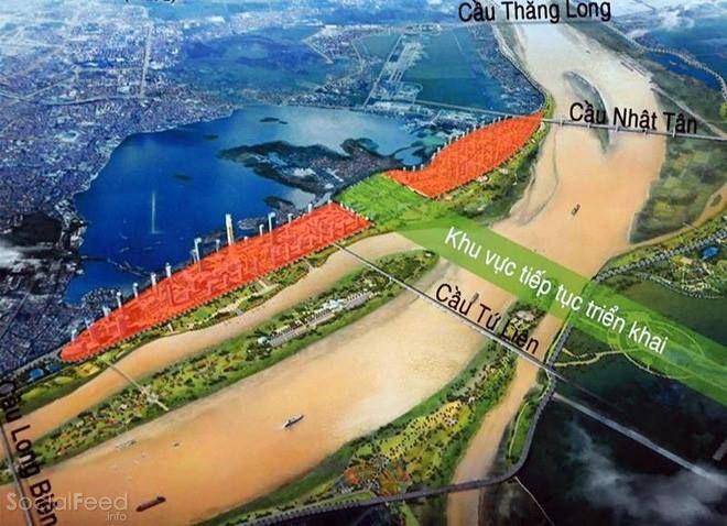Khu vực triển khai xây dựng cây cầu Tứ Liên Hà Nội