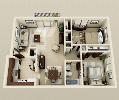 2 bedroom 3d floor plans with balcony and separate kitchen