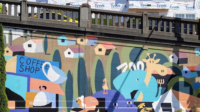 Coffee shop street art in Seattle's Fremont neighborhood