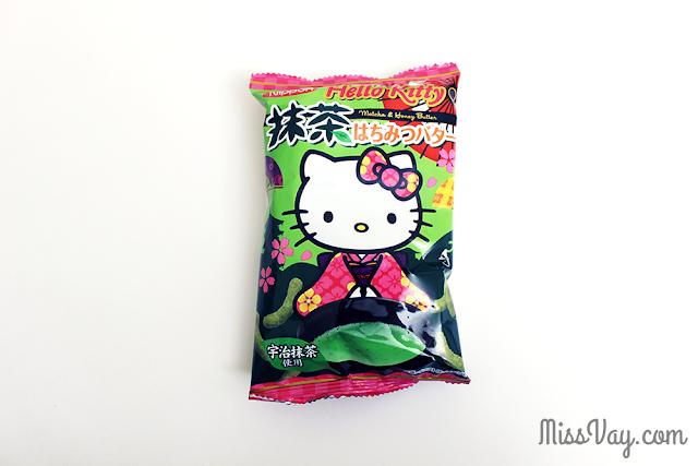 Grignotines soufflées Hello Kitty - matcha et beurre au miel