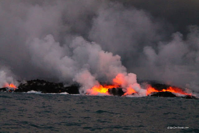 copyright RocDocTravel.com Kilauea Hawaii east rift zone eruption 2018 lava Leilani Estates helicopter boat volcano