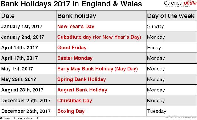 2017 Calendar with Bank