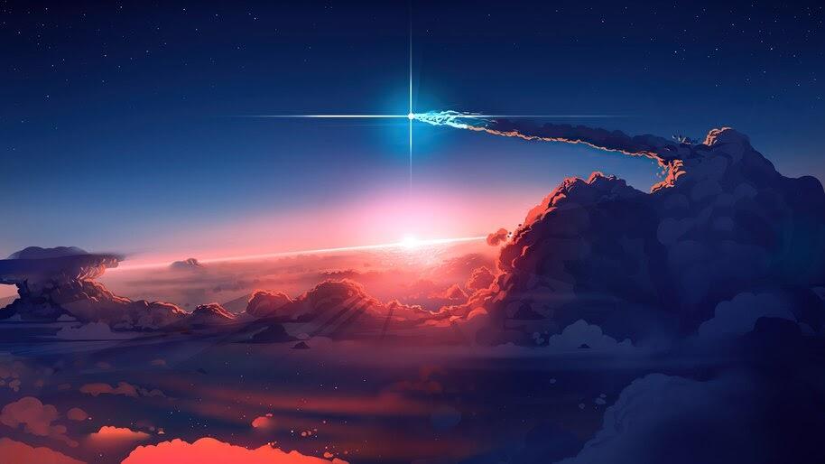 Sky, Comet, Clouds, Sunrise, Scenery, Digital, Art, 4K, #6.954