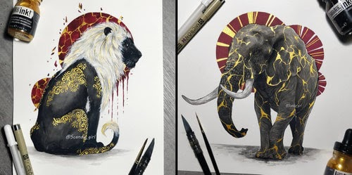 00-Jonna-Hyttinen-Animals-Mixture-of-Drawings-and-Paintings-www-designstack-co