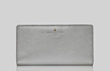 Kate Spade Stacy Cherry Lane Silver Purse Wallet
