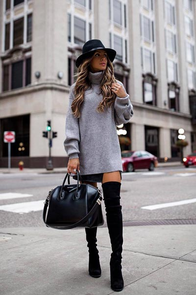 21+ Non-Boring Fall Outfits for Work | Tunic + Leather Skirt in Black + Over Knee Boots
