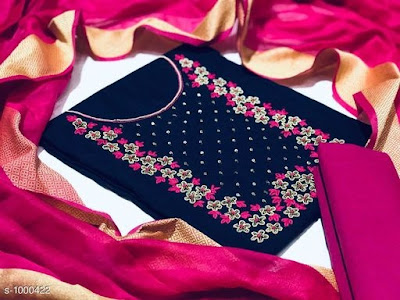 Attractive Cotton Women's  Embroidery Suits & Dress Materials | Cod - cash on delivery available
