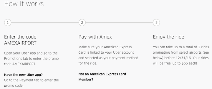 Uber Free ride offer with Amex Card