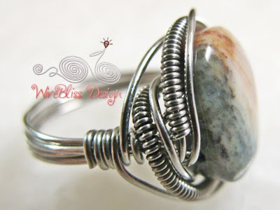 Wire wrapped Jasper ring side view
