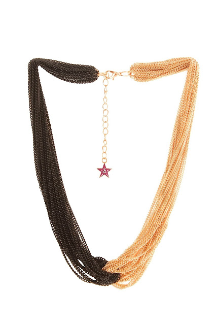 9348 Gold toned and black chain necklace,has interwined multiple chainsRs.798