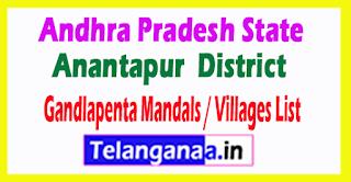 Gandlapenta Mandal Villages Codes Anantapur District Andhra Pradesh State India