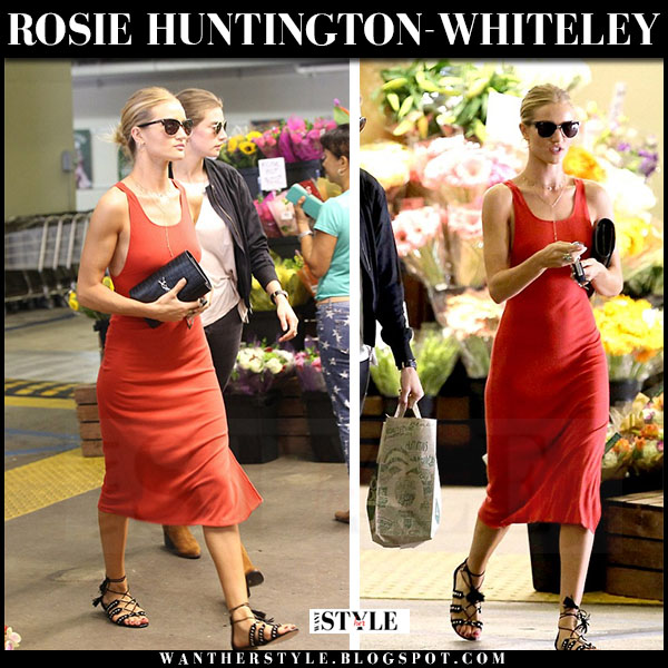 Rosie Huntington-Whiteley in red sleeveless midi tank dress alexander wang what she wore