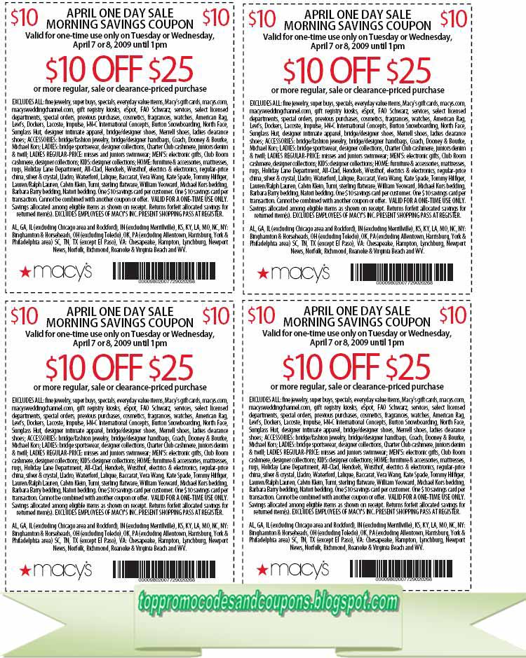 picture about Tuesday Morning Printable Coupon identified as Cost-free Promo Codes and Discount coupons 2019: Macys Coupon codes