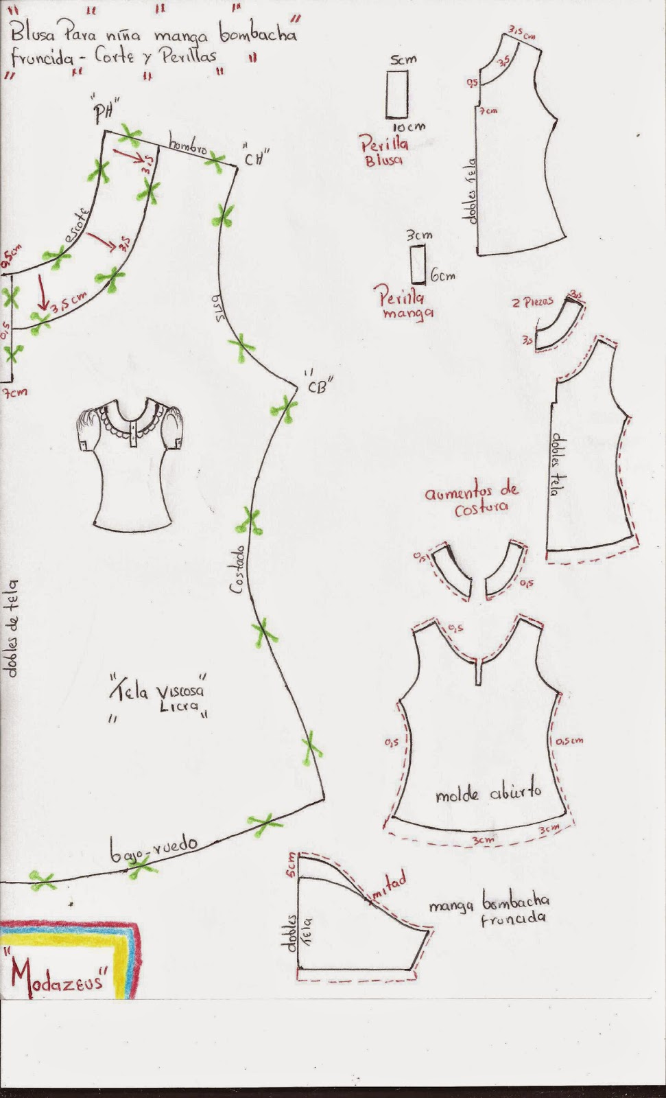 molderia de blusas con manga fruncida y perilla tiras